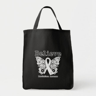 Believe -Mesothelioma  Cancer Butterfly Canvas Bags