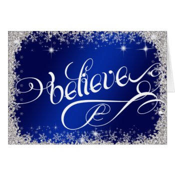 believe message PERSONALIZED Stunning Royal Blue Card