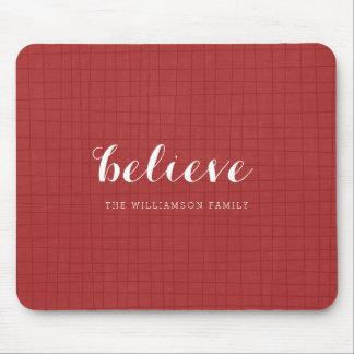 Believe - Modern Merry Christmas Red Mouse Pad
