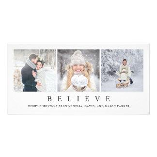 Believe   Modern Minimalist Christmas Three Photos Card