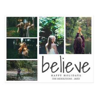 Believe Modern Typography Holiday Five Photos Postcard