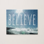 """Believe Motivational Saying Jigsaw Puzzle<br><div class=""""desc"""">Believe in yourself or a higher power with this awesome inspirational photograph. Reach for something more and get a motivational poster or gift today.</div>"""