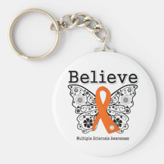 Believe Multiple Sclerosis Basic Round Button Keychain