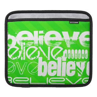 Believe; Neon Green Stripes iPad Sleeve