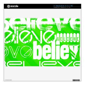 Believe; Neon Green Stripes MacBook Decal