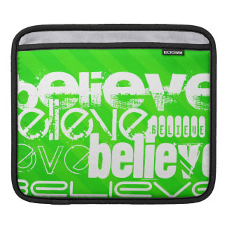Believe; Neon Green Stripes Sleeves For iPads