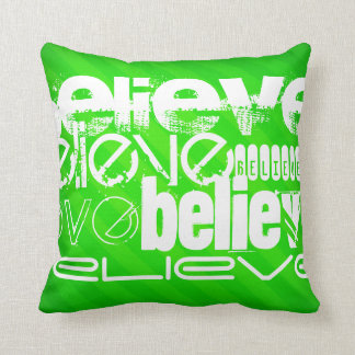 Believe; Neon Green Stripes Throw Pillow