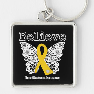 Believe - Neuroblastoma Cancer Butterfly Keychains