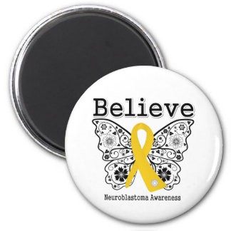 Believe - Neuroblastoma Cancer Butterfly Magnet