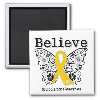 Believe - Neuroblastoma Cancer Butterfly Refrigerator Magnets
