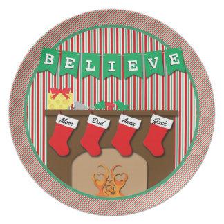 Believe • Night Before Christmas • 4 Stockings Melamine Plate