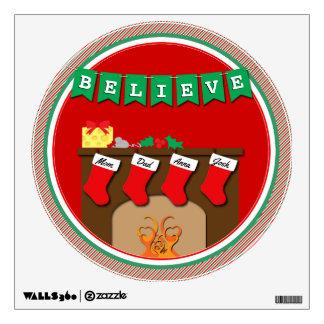 Believe Night Before Christmas • 4 Stockings Wall Sticker