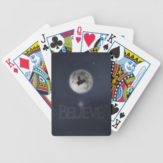 BELIEVE-Nocturnal flying pig flies past moon Bicycle Playing Cards