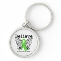 Believe - Non-Hodgkins Lymphoma  Butterfly Silver-Colored Round Keychain