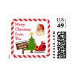 Believe North Pole Santa Christmas Tree Candy Cane Postage