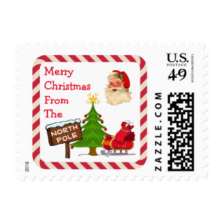 Believe North Pole Santa Christmas Tree Candy Cane Postage