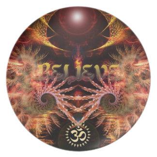 Believe Om-Fractal Art Inspirational Art Plate