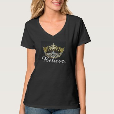 photographybydebbie Believe Pageant Crown Top-Black T-Shirt