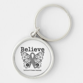 Believe Parkinsons Disease Silver-Colored Round Keychain