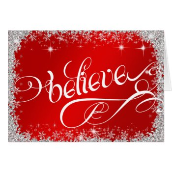 Believe PERSONALIZED Elegant Brilliant Red Holiday Card