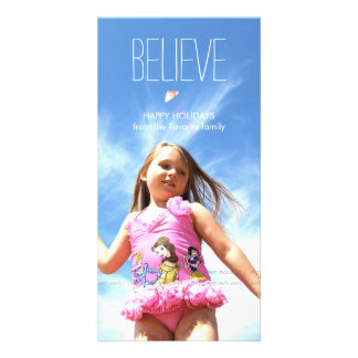 Believe Photo Christmas Holiday Greetings Card