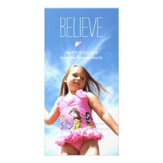 Believe Photo Christmas Holiday Greetings Photo Card