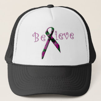 Believe Pink and green camo breast cancer ribbon Trucker Hat