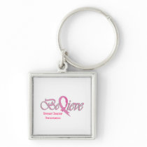 """""""Believe"""" Pink Ribbon Collection 2 Keychain"""