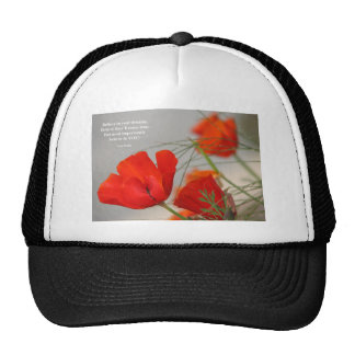 Believe Poem Red Poppy Mesh Hats