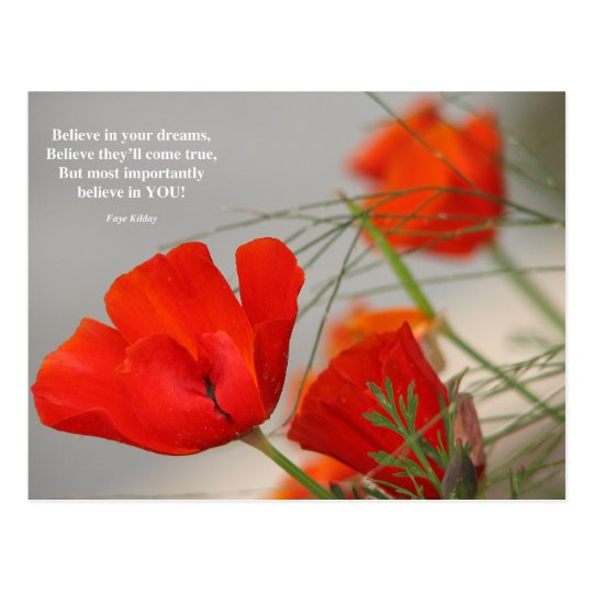 Believe Poem Red Poppy Postcard
