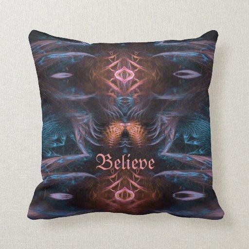 Believe Positive Visionary Fractal Art Cushion Throw