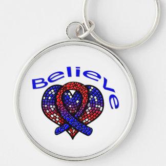 Believe Pulmonary Fibrosis Keychains