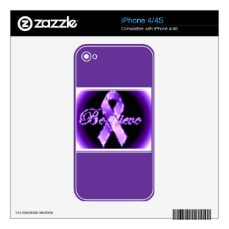 Believe Purple Ribbon Awareness Phone Skin iPhone 4 Skins