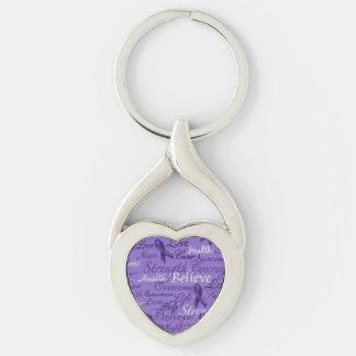 Believe Purple Ribbon Heart KeyChain