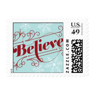 Believe - Red & Light Blue Postage Stamp