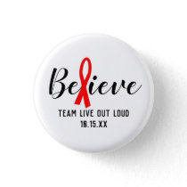 Believe Red Ribbon AIDs Awareness Team Button