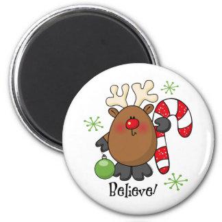Believe Reindeer 2 Inch Round Magnet