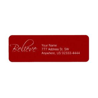 Believe Return Address Label