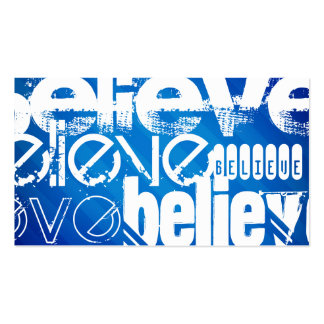 Believe; Royal Blue Stripes Double-Sided Standard Business Cards (Pack Of 100)
