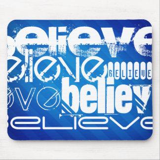 Believe; Royal Blue Stripes Mouse Pad