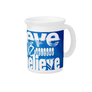 Believe; Royal Blue Stripes Beverage Pitchers