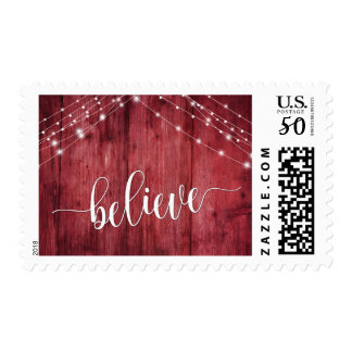 Believe Rustic Red Wood w/ White Light Strands Postage