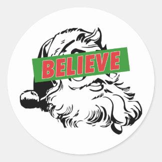 Believe Santa Claus Classic Round Sticker