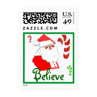 Believe Santa Clause Christmas Stamp
