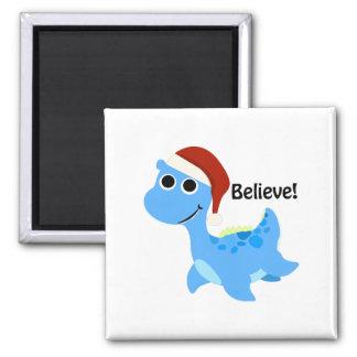 Believe! Santa Nessie 2 Inch Square Magnet