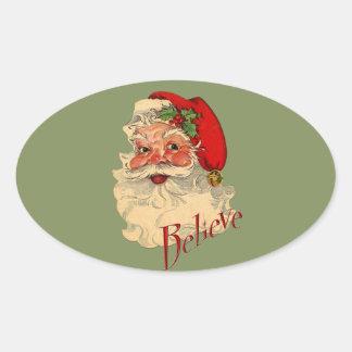 Believe Santa Oval Sticker