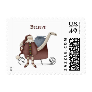 Believe Santa with Sleigh Stamps