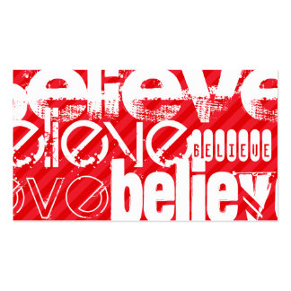 Believe; Scarlet Red Stripes Double-Sided Standard Business Cards (Pack Of 100)