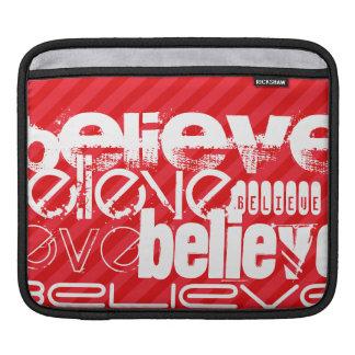 Believe; Scarlet Red Stripes iPad Sleeve