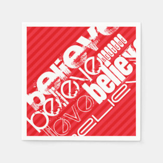 Believe; Scarlet Red Stripes Napkin